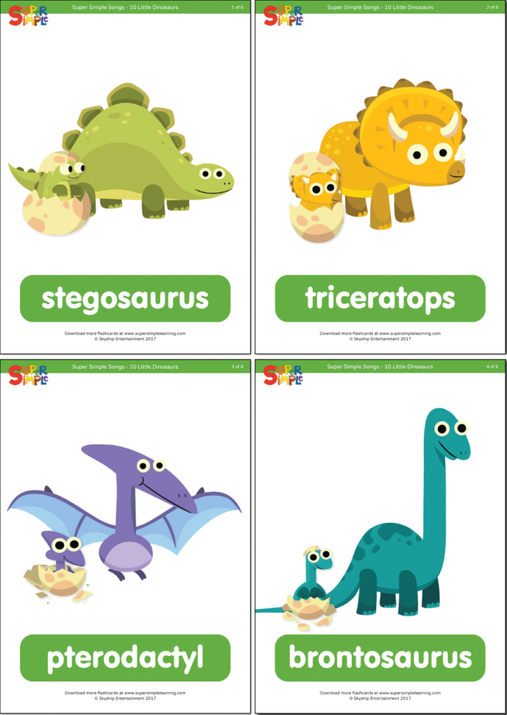 10 Little Dinosaurs Flashcards Super Simple Practice the names of five different dinosaur species with this flashcard set for the song, 10 little. 10 little dinosaurs flashcards super