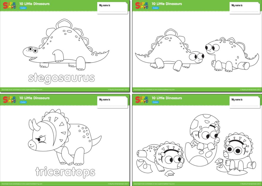 10 little dinosaurs worksheets color super simple. Black Bedroom Furniture Sets. Home Design Ideas