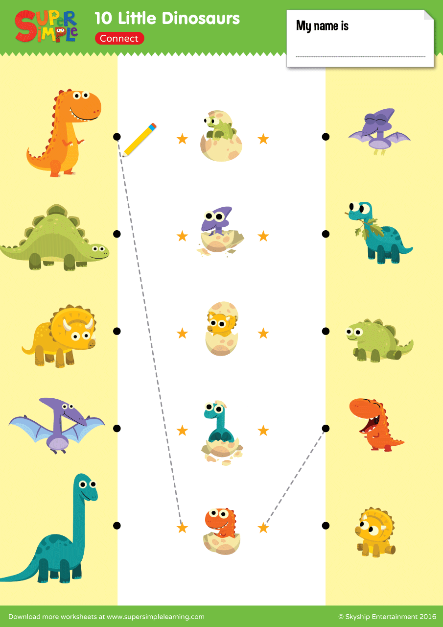 10 Little Dinosaurs Worksheet Connect Super Simple