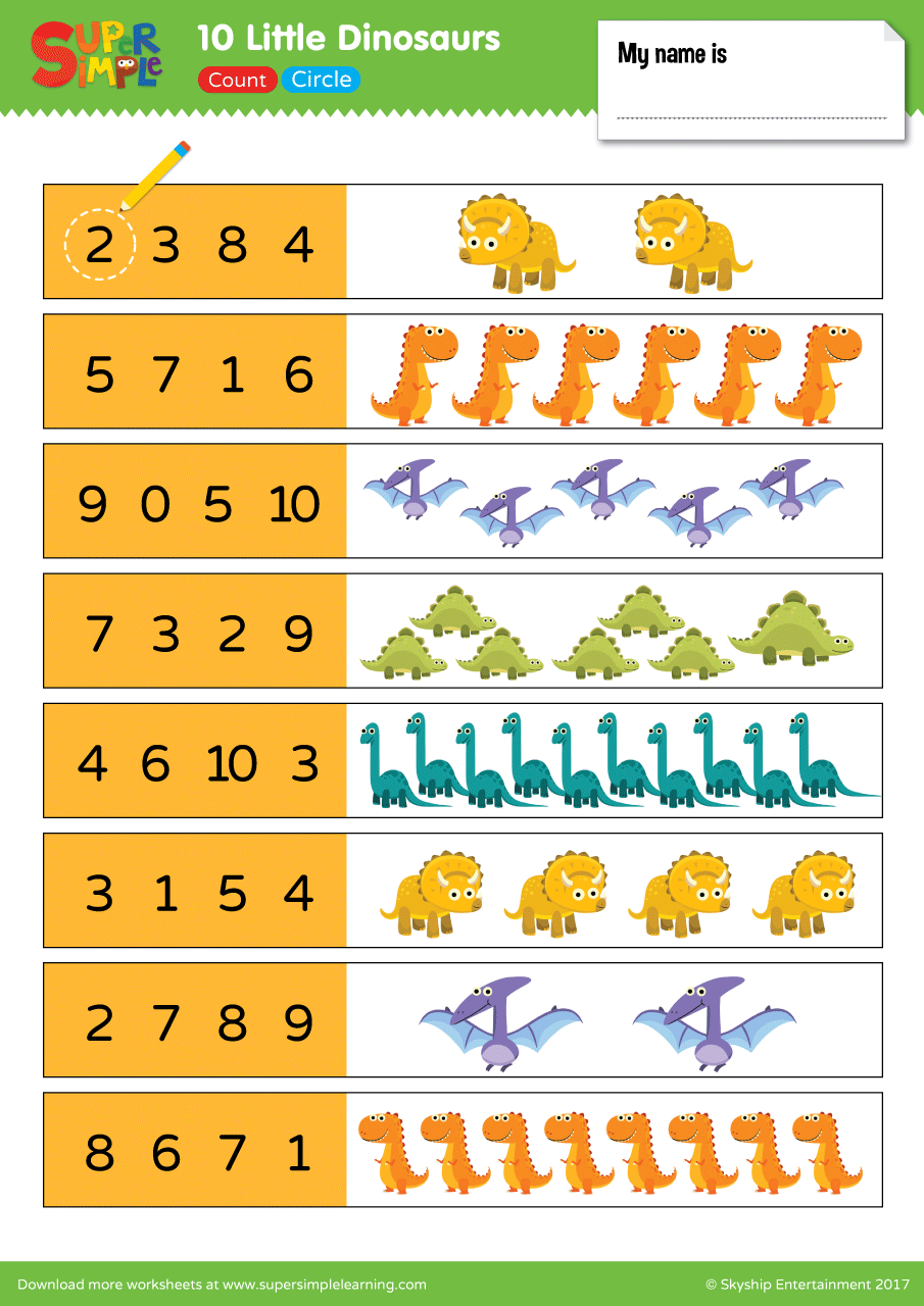 10 little dinosaurs worksheet count circle super simple. Black Bedroom Furniture Sets. Home Design Ideas