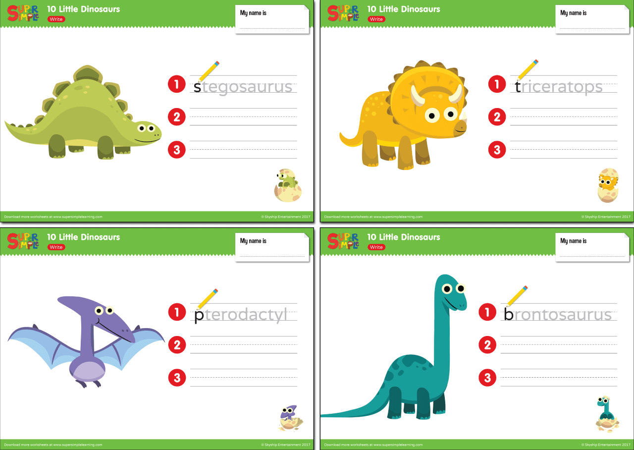 10 little dinosaurs worksheets write super simple. Black Bedroom Furniture Sets. Home Design Ideas