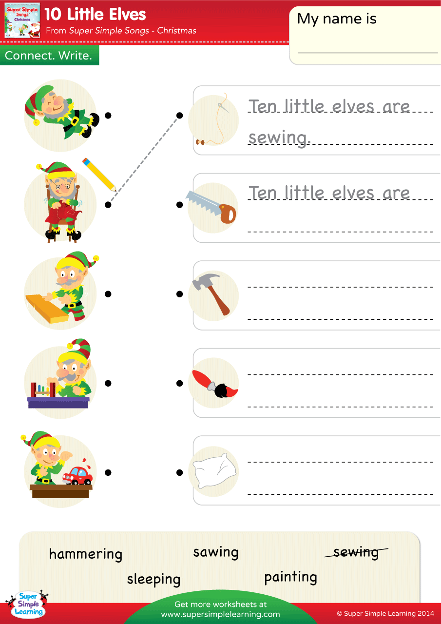 10 Little Elves Worksheet Connect Amp Write Super Simple