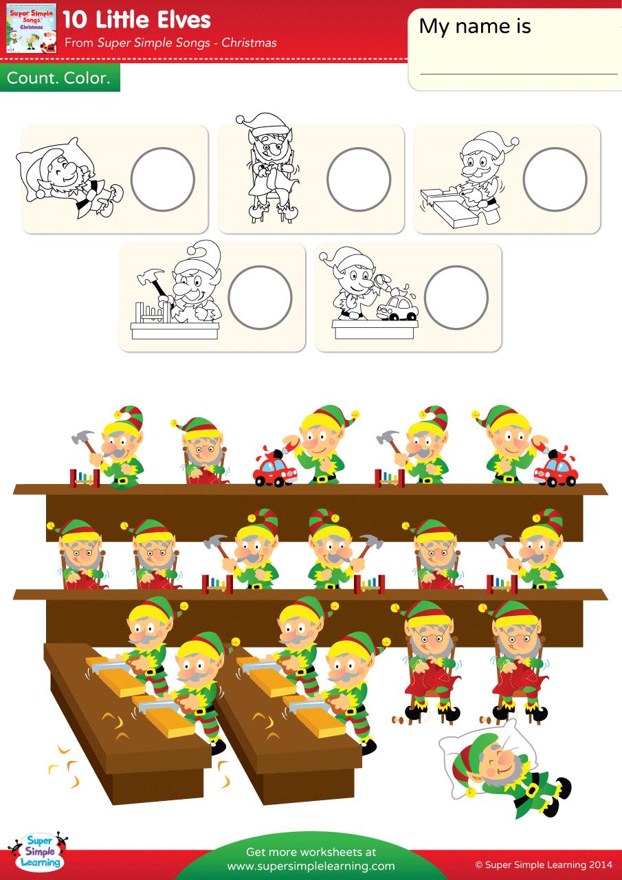 10 Little Elves Worksheet Count Amp Color Super Simple