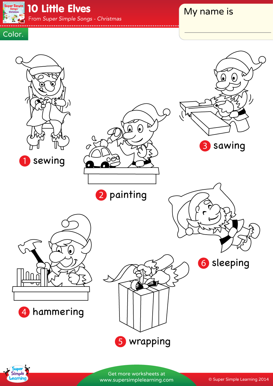 10 Little Elves Worksheet Vocabulary Coloring Super Simple