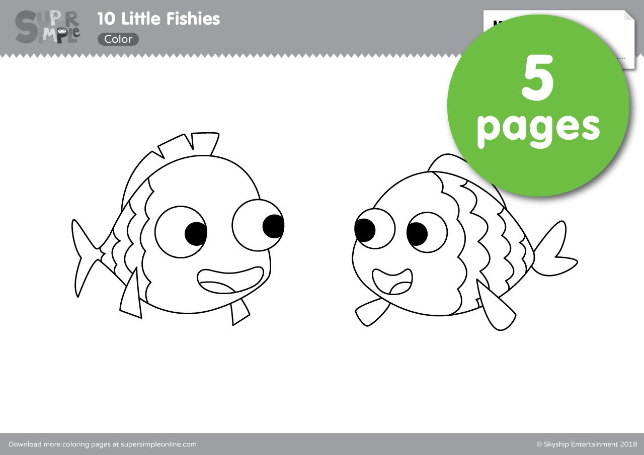 10 Little Fishies Coloring Pages