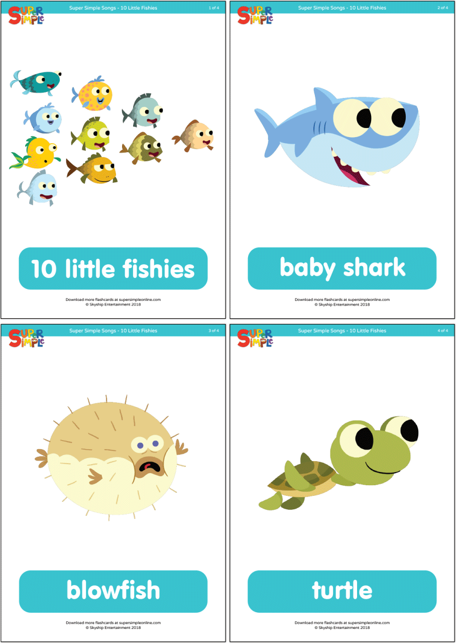 10 Little Fishies Flashcards Super Simple