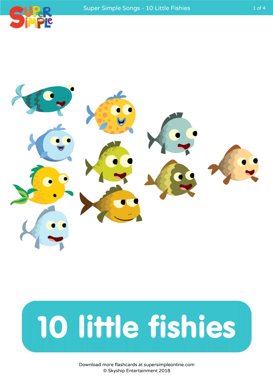 10 Little Fishies Flashcards
