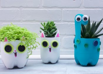 Peekaboo Cat and Dinosaur Planter