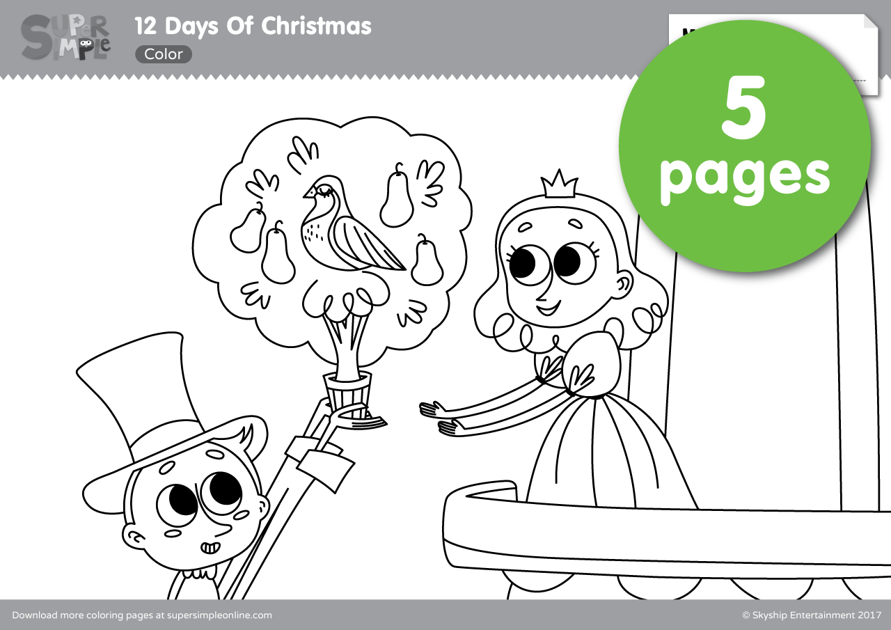 12 days of christmas super simple for 12 days of christmas coloring page