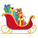 Santa's sleigh filled with toys