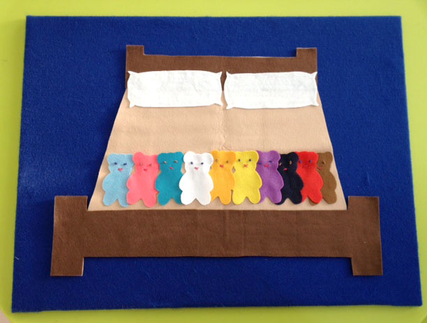 There were 10 in the felt bed and the little felt one said....