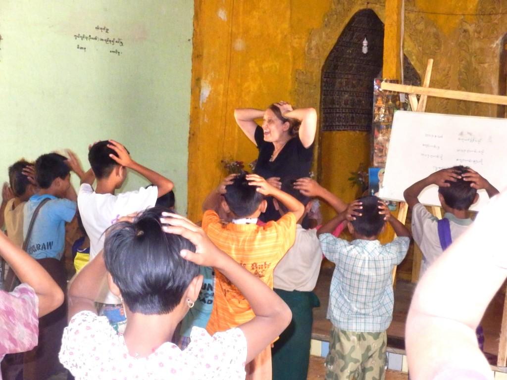 Picture of Sara teaching Head Shoulders Knees & Toes