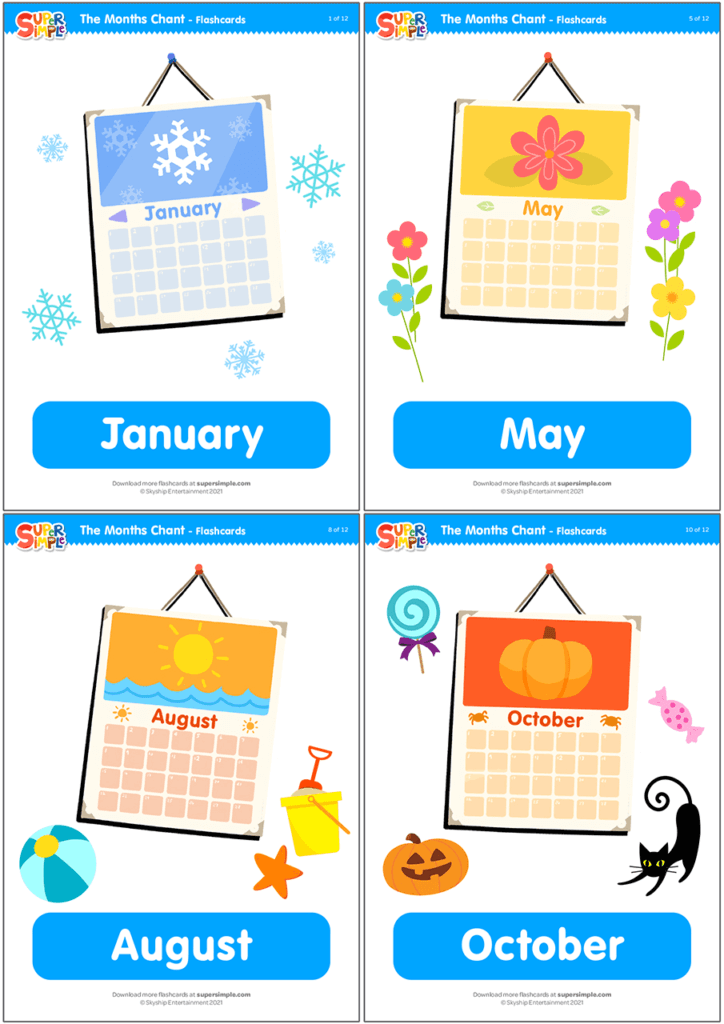 The Months Chant Flashcards
