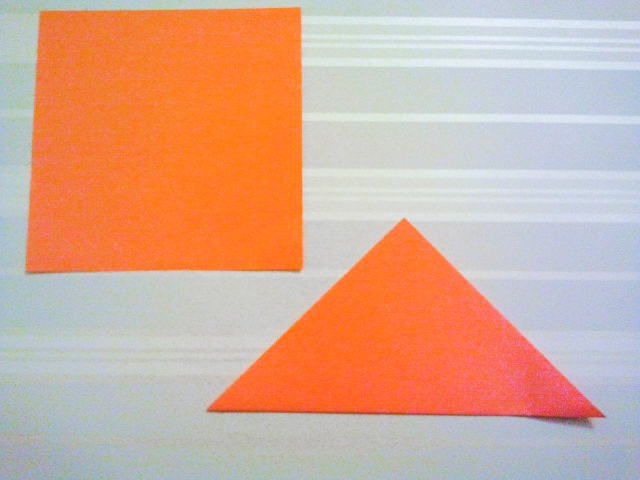 Fold your square paper to make a triangle.