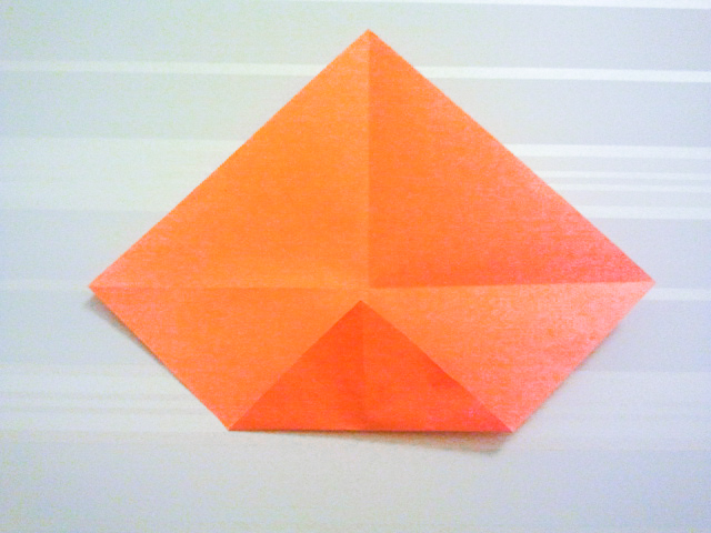 Fold the corner to the center of the paper.