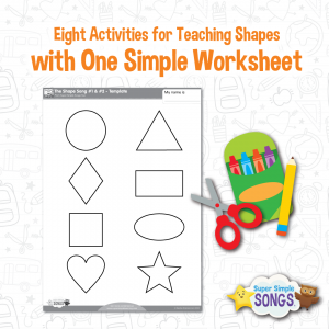 Eight activities for teaching shapes with one simple worksheet