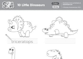 10 Little Dinosaurs Worksheet – Write & Color