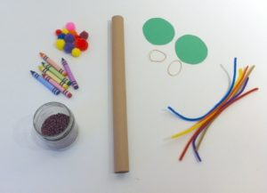 Materials needed to make a rainstick craft