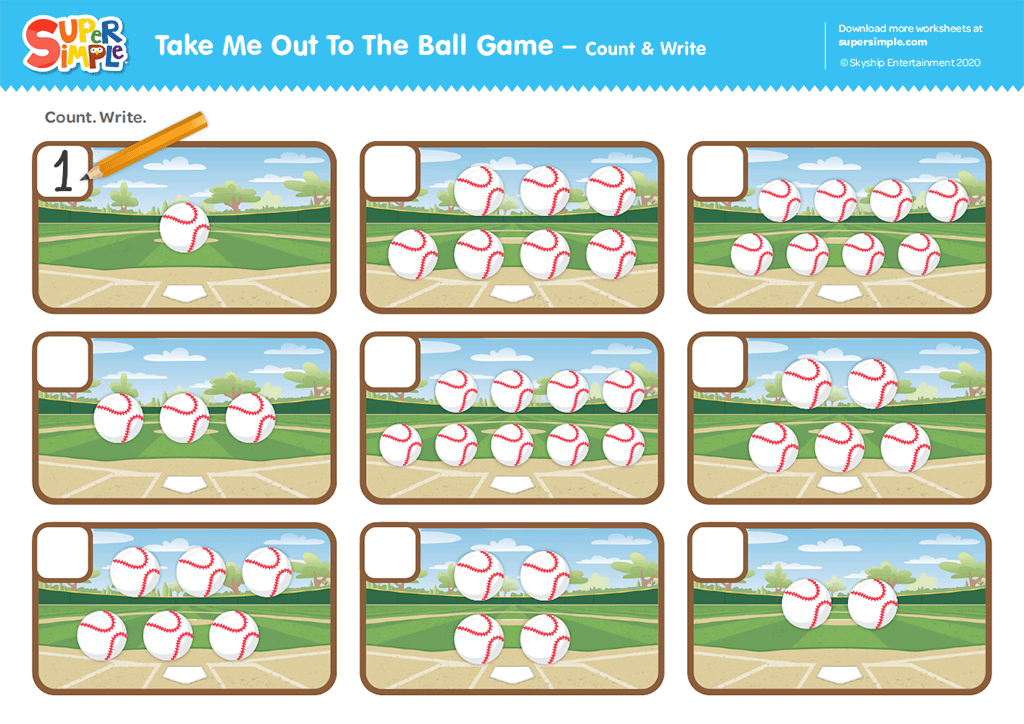 Take Me Out To The Ball Game - Count & Write