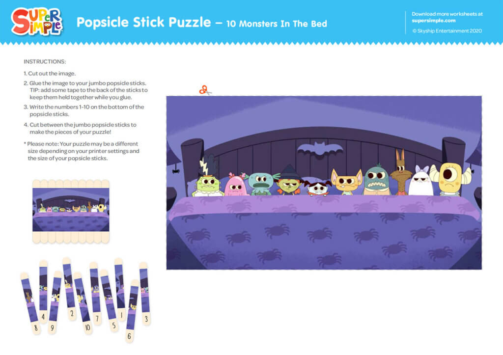 Popsicle Stick Puzzle - 10 Monsters In The Bed