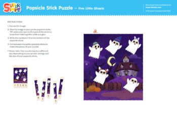 Popsicle Stick Puzzle - Five Little Ghosts