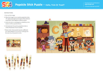 Popsicle Stick Puzzle - Hello, Trick Or Treat?