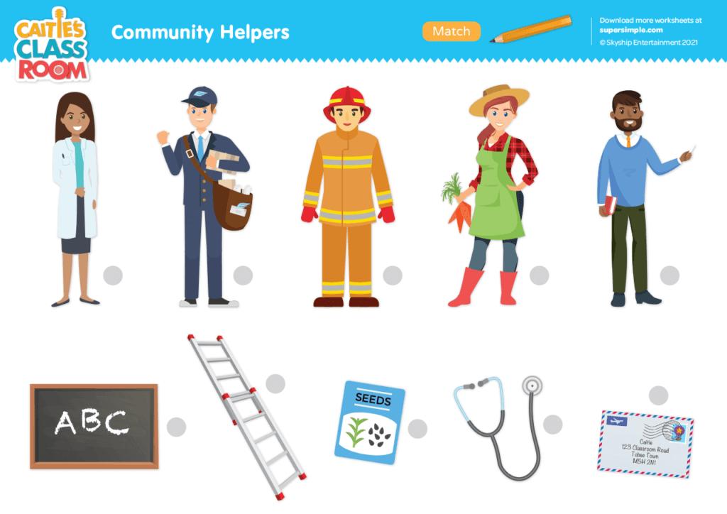 Community Helpers Worksheet - Match