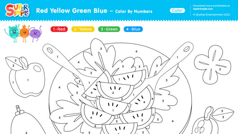 Red Yellow Green Blue - Color By Numbers