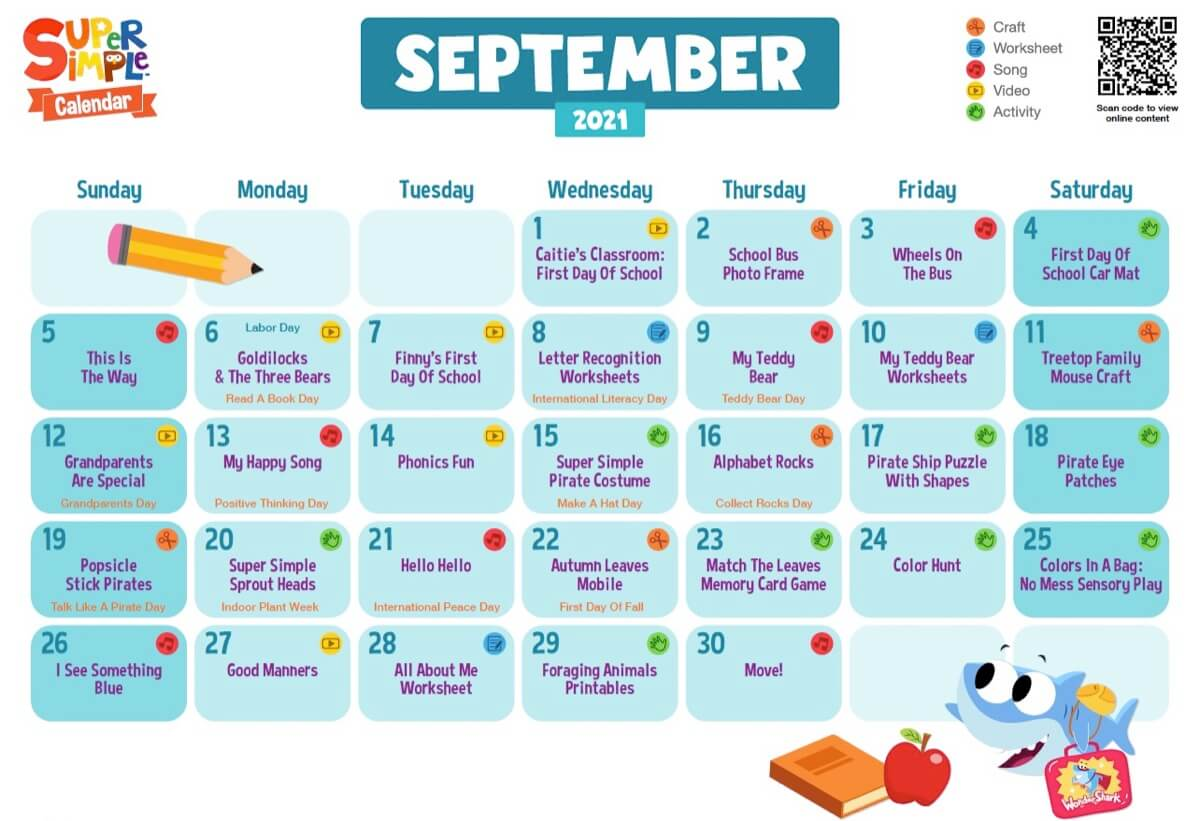 Super Simple Calendar - September 2021