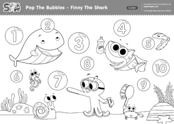 Pop The Bubbles (Finny the Shark) Coloring Page