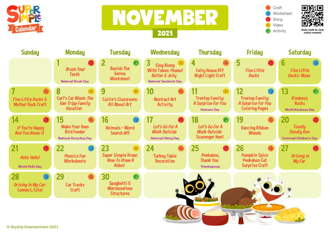 Super Simple Calendar - November 2021