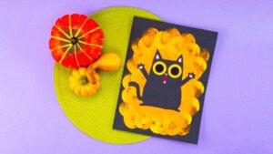 Peekaboo Cat Halloween Stencil Painting