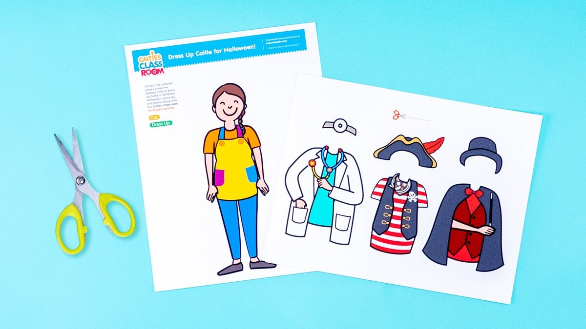Dress Up Caitie for Halloween! Paper Doll Printable & Activity