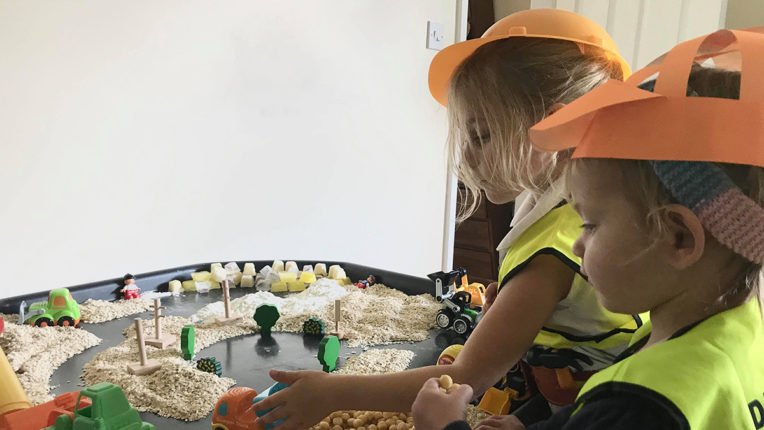 edible construction sensory bin