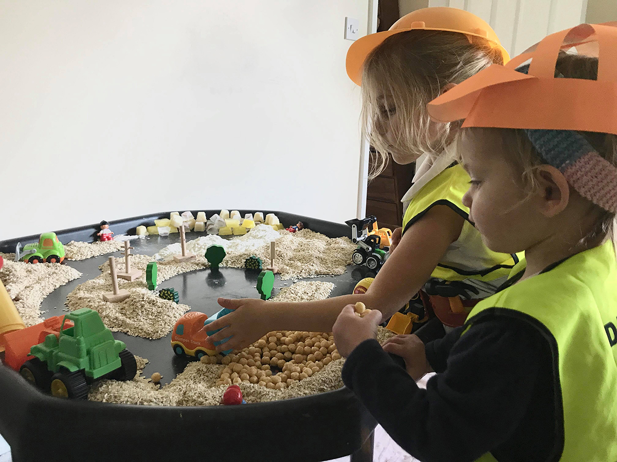 edible construction sensory bin