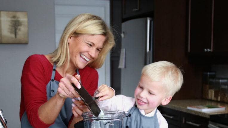 Mom and Son Preparing Smoothie