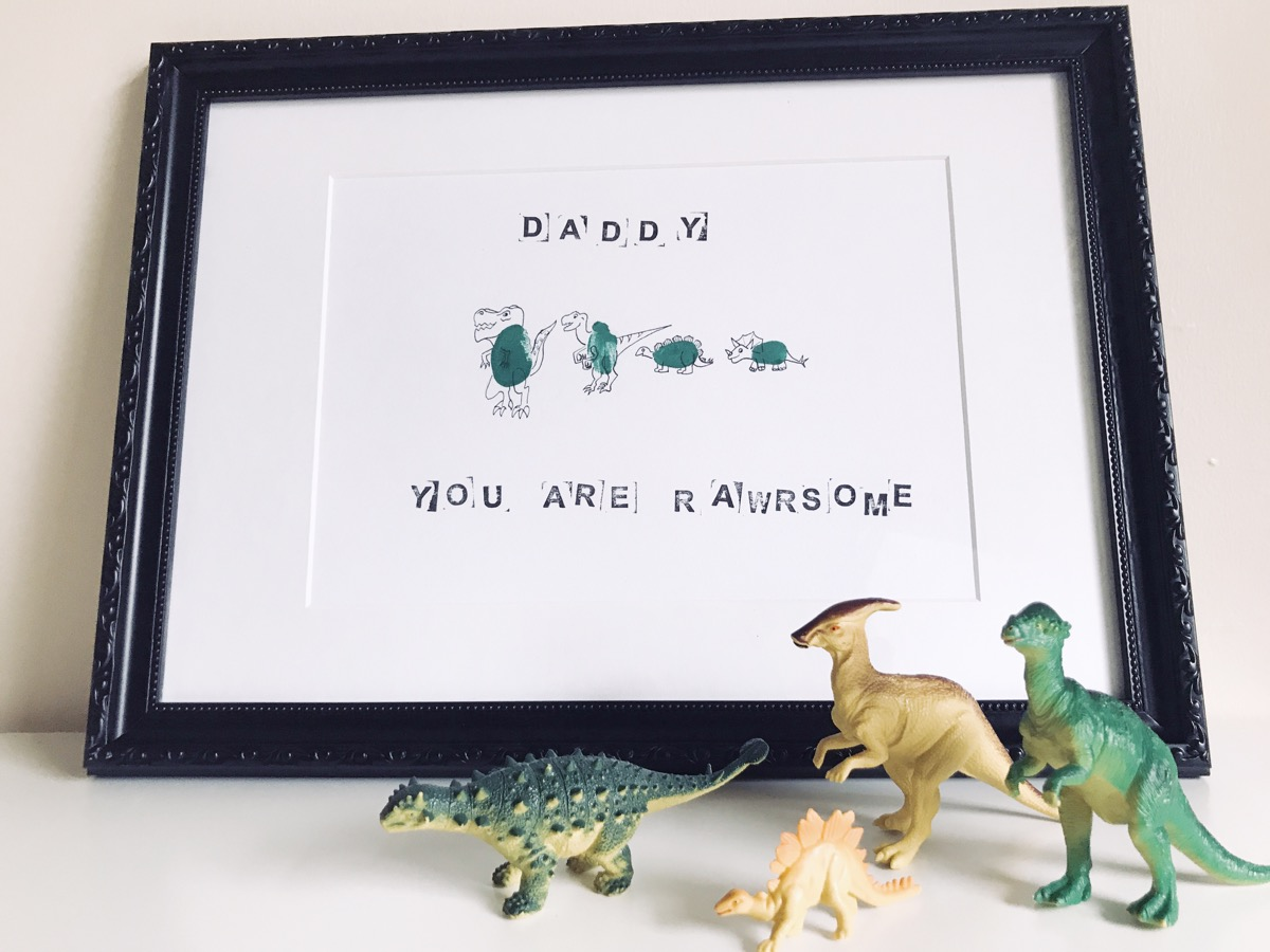 Father's Day - Dinosaur Family Fingerprint - Finished Product