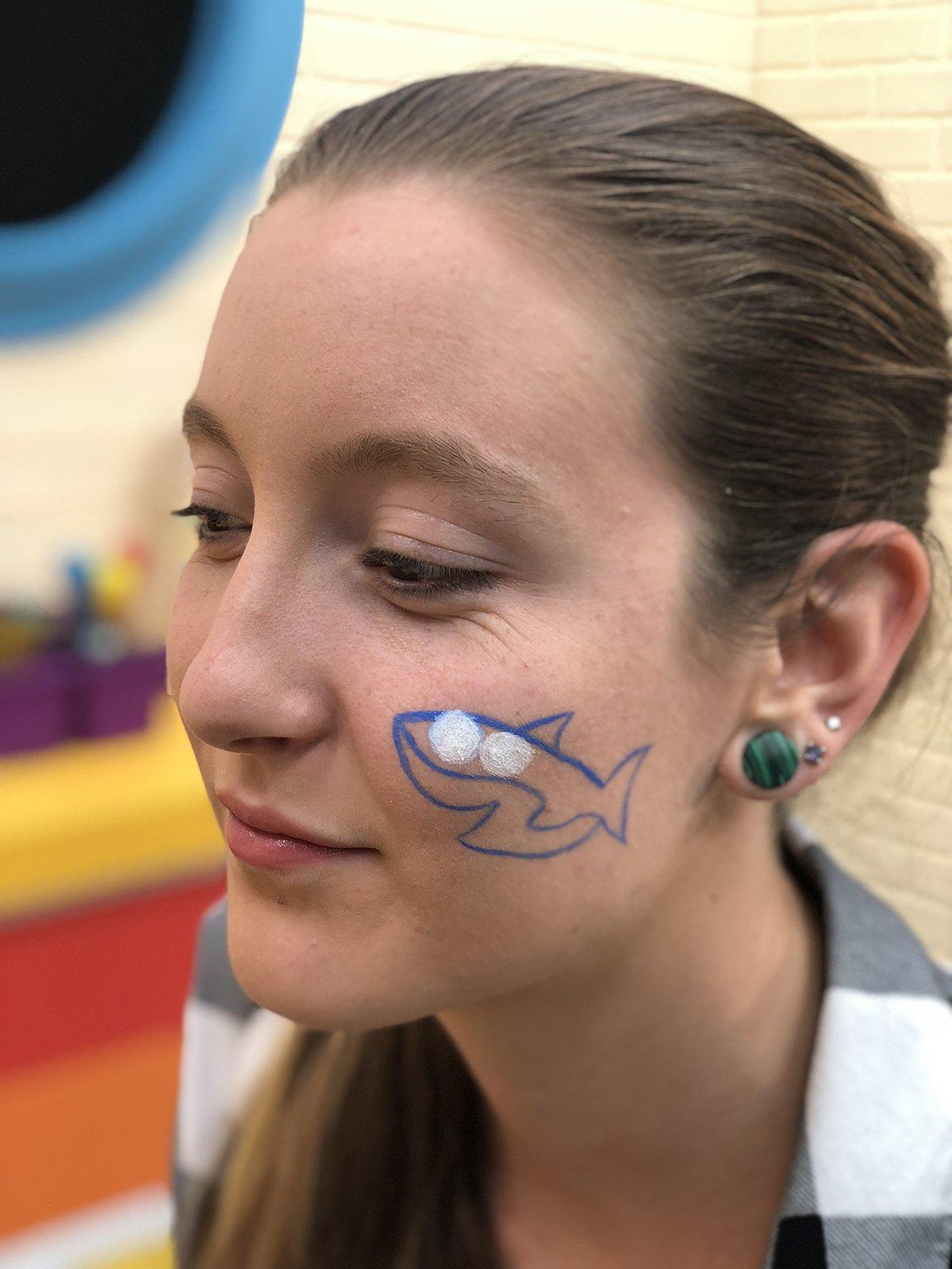 baby shark face paint