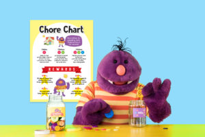 Milo with his Chore Chart and Buttons