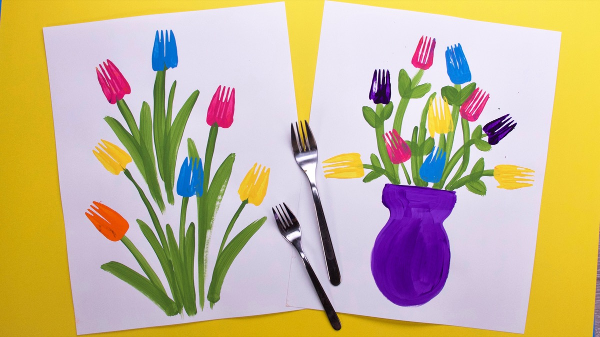 Fork Flowers Super Simple