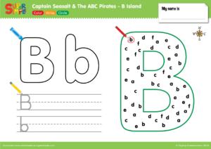 B Island Worksheet - Color, Write, Circle
