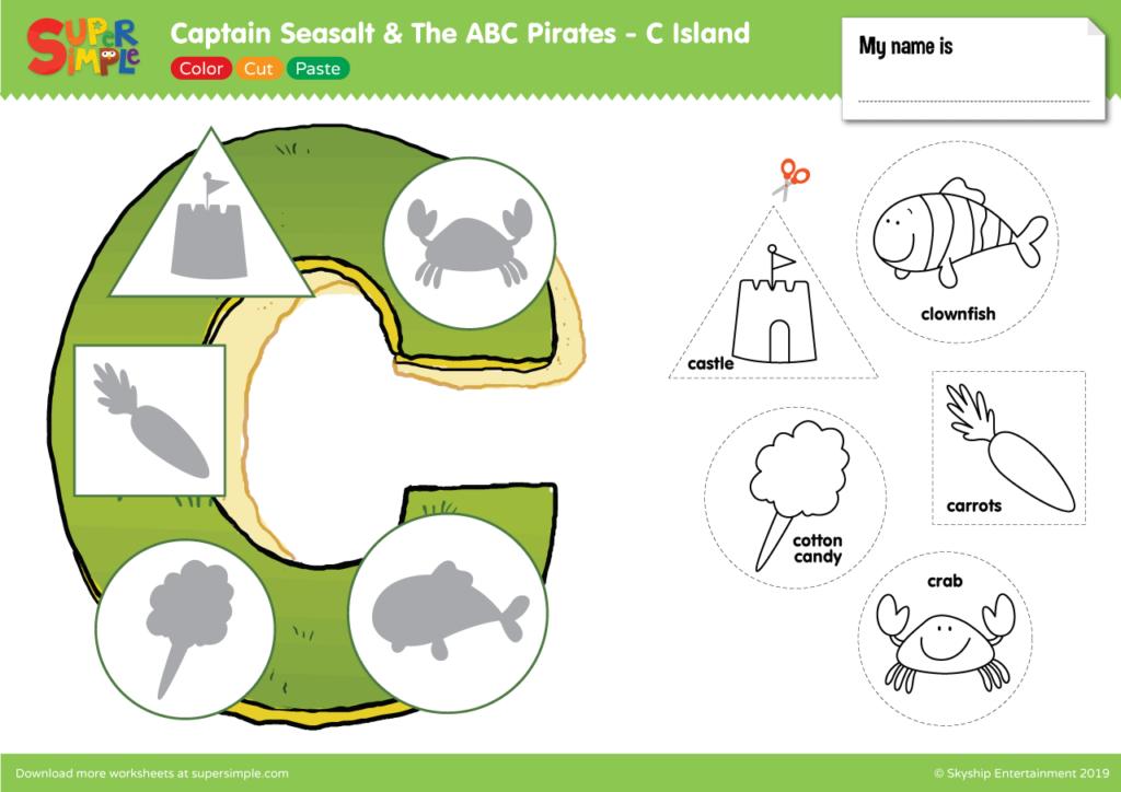 """Captain Seasalt And The ABC Pirates """"C"""" - Color, Cut, Paste"""