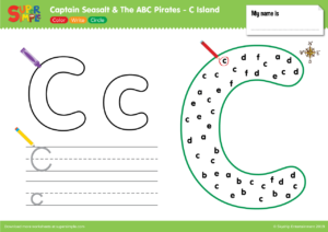 "Captain Seasalt And The ABC Pirates ""C"" - Color, Write, Circle"