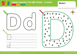 "Captain Seasalt And The ABC Pirates ""D"" - Color, Write, Circle"