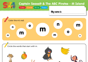 "Captain Seasalt And The ABC Pirates ""M"" - Color, Circle, Write, Trace"