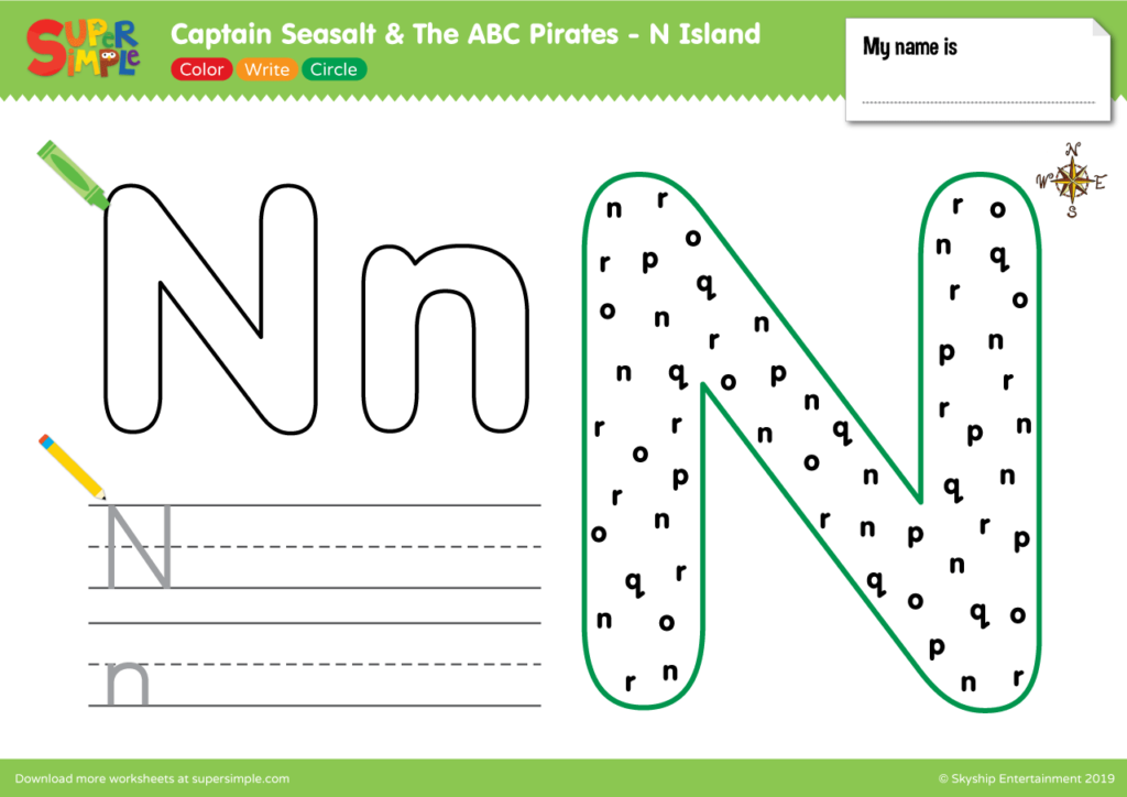 "Captain Seasalt And The ABC Pirates ""N"" - Color, Write, Circle"