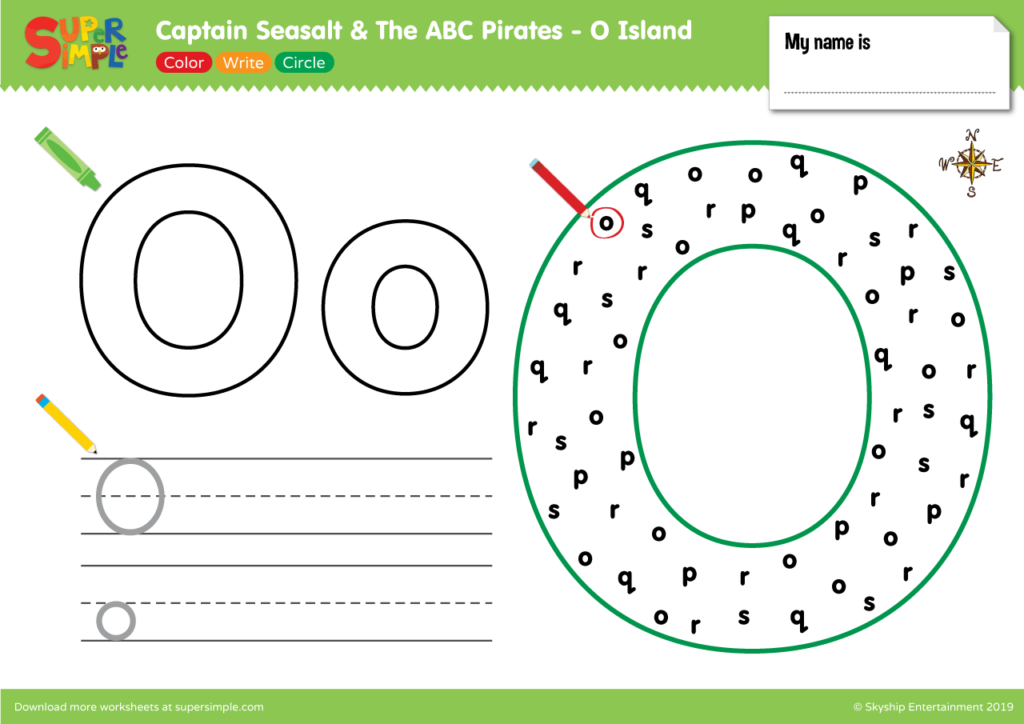 "Captain Seasalt And The ABC Pirates ""O"" - Color, Write, Circle"