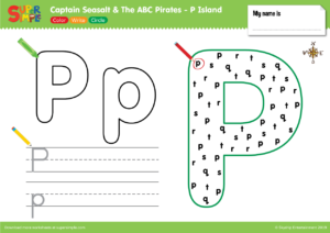 "Captain Seasalt And The ABC Pirates ""P"" - Color, Write, Circle"