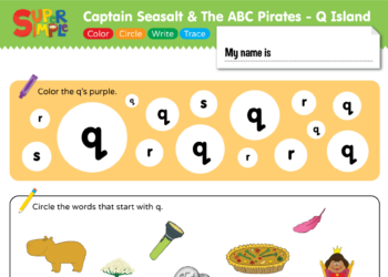 "Captain Seasalt And The ABC Pirates ""Q"" - Color, Circle, Write, Trace"