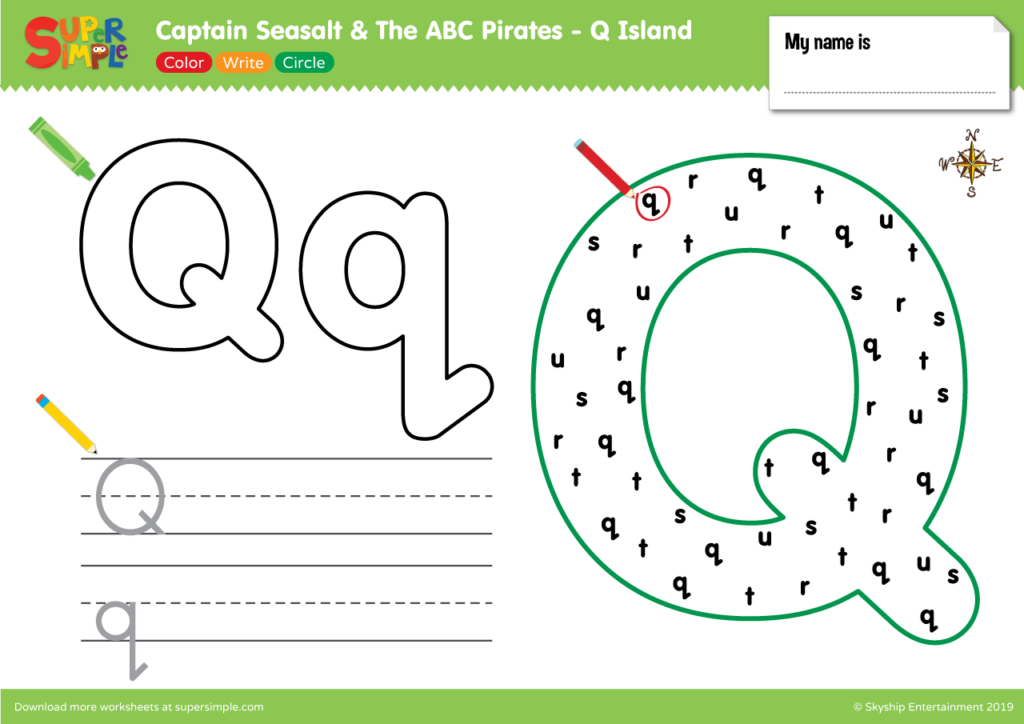 "Captain Seasalt And The ABC Pirates ""Q"" - Color, Write, Circle"